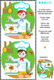 Find the differences visual puzzle - young chef. Picture puzzle: Find the seven differences between the two pictures of happy young chef (plus same task text in Royalty Free Stock Photo