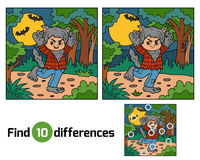 Find differences, Werewolf. Find differences education game for children, Werewolf Stock Photo