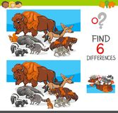 Find differences with wild animal characters. Cartoon Illustration of Finding Six Differences Between Pictures Educational Activity Game for Kids with Wild Royalty Free Stock Photos