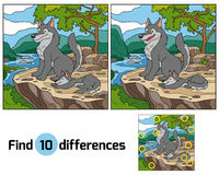 Find differences (wolf and background). Game for children: Find differences (wolf and background Royalty Free Stock Image