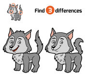 Find differences, Wolf. Find differences, education game for children, Wolf Stock Photography