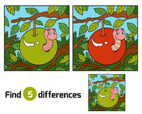 Find differences, Worm in apple Stock Photo