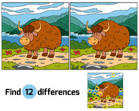 Find differences (yak). Find differences game for children (yak Royalty Free Stock Photo