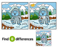 Find differences, Yeti. Find differences education game for children, Yeti Stock Photography