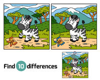 Find differences (zebra and background). Find differences, education game for children (zebra and background Stock Photo