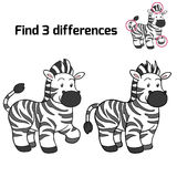 Find 3 differences (zebra) Royalty Free Stock Photo