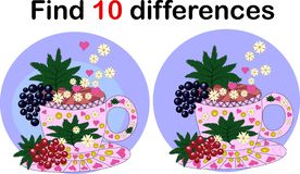 Find differences Teacup for children. Herbal infusion stock illustration