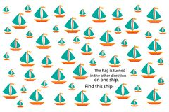 Find different ship, fun education puzzle game with transport for children, preschool worksheet activity for kids, task for the stock illustration