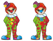 Find a different at tow clowns. Two different clowns stand together and watch Royalty Free Stock Image