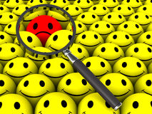 Find dissatisfied customer. One dissatisfied customer amongst many happy smiley faces, lens showing the concept of successful identification to service such Stock Photo