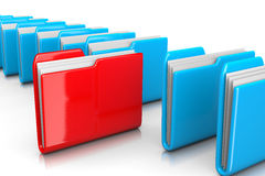 Find Documents. Single Red Document Folder among Many Blue on White Background 3D Illustration, Find Documents Concept Stock Photos