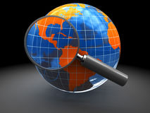 Find on earth. 3d illustration of earth globe with magnify glass, internet search concept Royalty Free Stock Photos