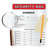 Find evidence. Items for the search and cataloging evidence. Vector illustration Stock Photos
