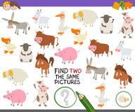 Find exactly the same pictures. Cartoon Illustration of Finding Two Exactly the Same Pictures Educational Activity for Children with Farm Animal Characters Royalty Free Stock Images
