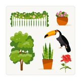 Find an extra object, plants. Find an extra object. Card for a logical game for children. Plants and bird. Vector illustration stock illustration