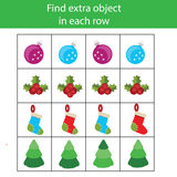 Find extra object in row. Educational children game. Christmas, winter holidays theme. Find extra object in sequence row. Educational children game. Logic kids Stock Image