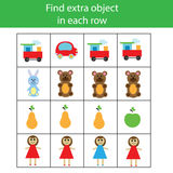 Find extra object in row. Educational children game. Logic activity for pre school age kids Royalty Free Stock Image