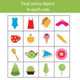 Find extra object in row. Educational children game, printable activity. Find extra object in sequence row. Educational children game. Logic kids activity Stock Photo