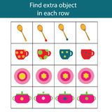 Find extra object in row. Educational children game, printable activity. Find extra object in sequence row. Educational children game. Logic kids activity Royalty Free Stock Photos