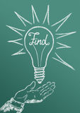 Find. Ing solutions to the problem as a result of the search, inspiration and ideas royalty free illustration