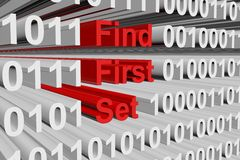 Find first set. In the form of binary code, 3D illustration Stock Photography
