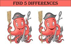 Find five differences. Anchor with octopus cartoon colored character isolated royalty free illustration
