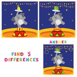 Find five differences children educational game. Vector illustration of elephant in circus Stock Photos