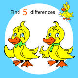Find five differences duck. Vector and cartoon illustrations Royalty Free Stock Photos