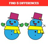 Find five differences. Educational game for children. Funny cartoon. Vector illustration.  Royalty Free Stock Photo