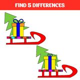 Find five differences. Educational game for children. Funny cartoon. Vector illustration.  Royalty Free Stock Images