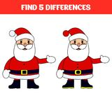 Find five differences. Educational game for children. Funny cartoon. Vector illustration.  Stock Photos