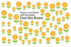 Find flower with 5 petals, spring fun education puzzle game for children, preschool worksheet activity for kids, task for the royalty free illustration