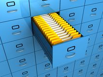 Find folder in archive drawer blue cabinet Stock Images