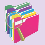 Find folder. Colorful folder stacked with gold magnifying glass. Investigating Stock Photography