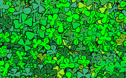 Find four-leaf clover for luck. Abstract illustration - heap trefoils Royalty Free Stock Image
