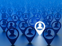 Find friend, hire employee or choice person concept. Avatars of people social network accounts with the chosen one on blue background Stock Photo
