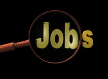 Find a golden jobs. Magnifying glass and finding a golden jobs concept in black background Stock Photography