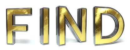 Find golden text. Find 3d rendered gold and silver color text on white Royalty Free Stock Image