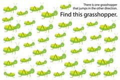 Find gresshopper jump in other direction, springs education puzzle game for children, preschool worksheet activity for kids, task stock illustration