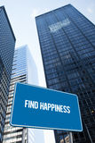 Find happiness against low angle view of skyscrapers Royalty Free Stock Image