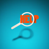 Find help. An icon of a magnifying glass hovers in the air, casting a shadow on blue background. The word `help` passes through silhouette of the magnifying Royalty Free Stock Photo
