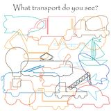 Find hidden objects on the picture, transport theme, mishmash contour set, fun education game for kids, preschool activity for. Children, vector vector illustration