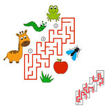 Find hidden right way. Task and answer. Game for children. Search and choose correct path Stock Image