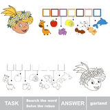 Find hidden word GARLAND. Rebus kid game. Search the word. Find hidden word GARLAND. Task and answer. Game for children Royalty Free Stock Photo