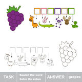 Find hidden word GRAPES. Solve the rebus. Find hidden word GRAPES.Task and answer. Search the word Stock Images