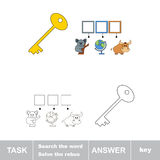 Find hidden word KEY. Rebus game for children Stock Photos