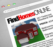 Find Homes Online - Web Screen. A web browser window shows the words Find Homes Online and a picture of a house Stock Image