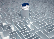 Find the house. House sitting in a huge maze - 3d render Stock Photography