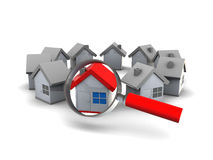 Find house. 3d illustration of houses ring and magnify glass, search for home concept Royalty Free Stock Photography