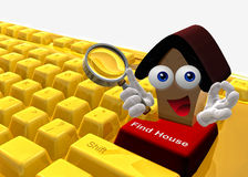 Find house on the internet icon symbol. Find house on the internet keyboard symbol 3d render Royalty Free Stock Photo